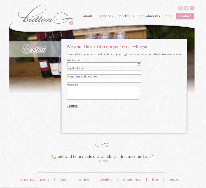 Button Events Contact Page - Firestride Media Web Design