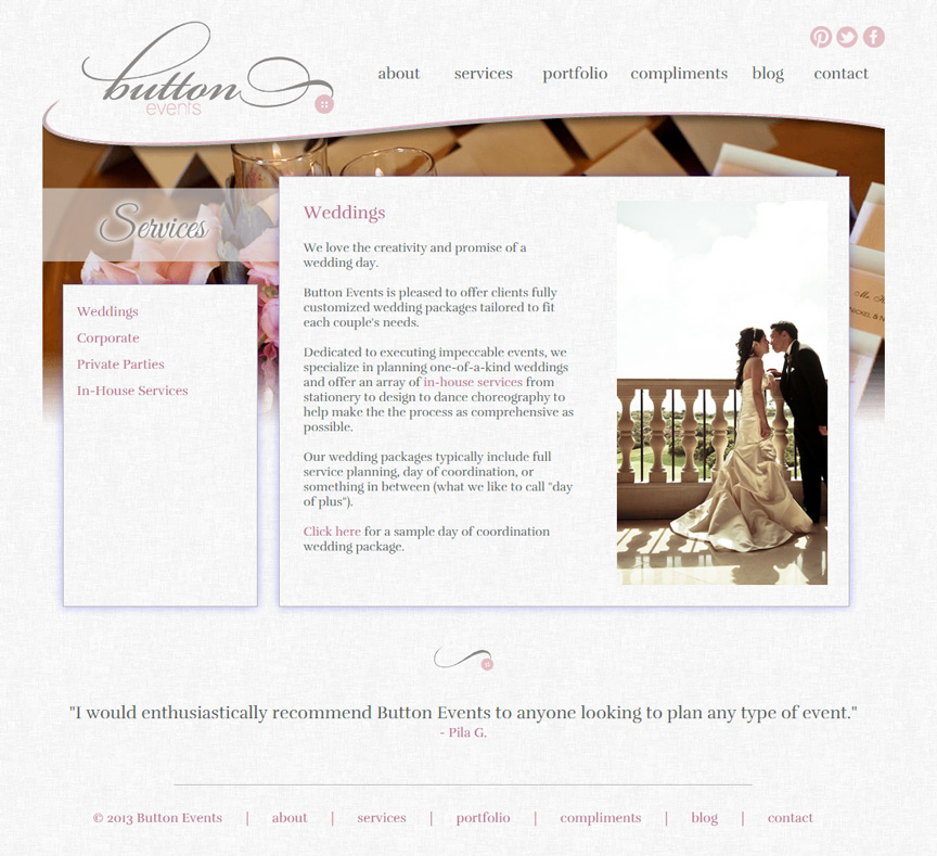 Button Events Services Page - Firestride Media Web Design