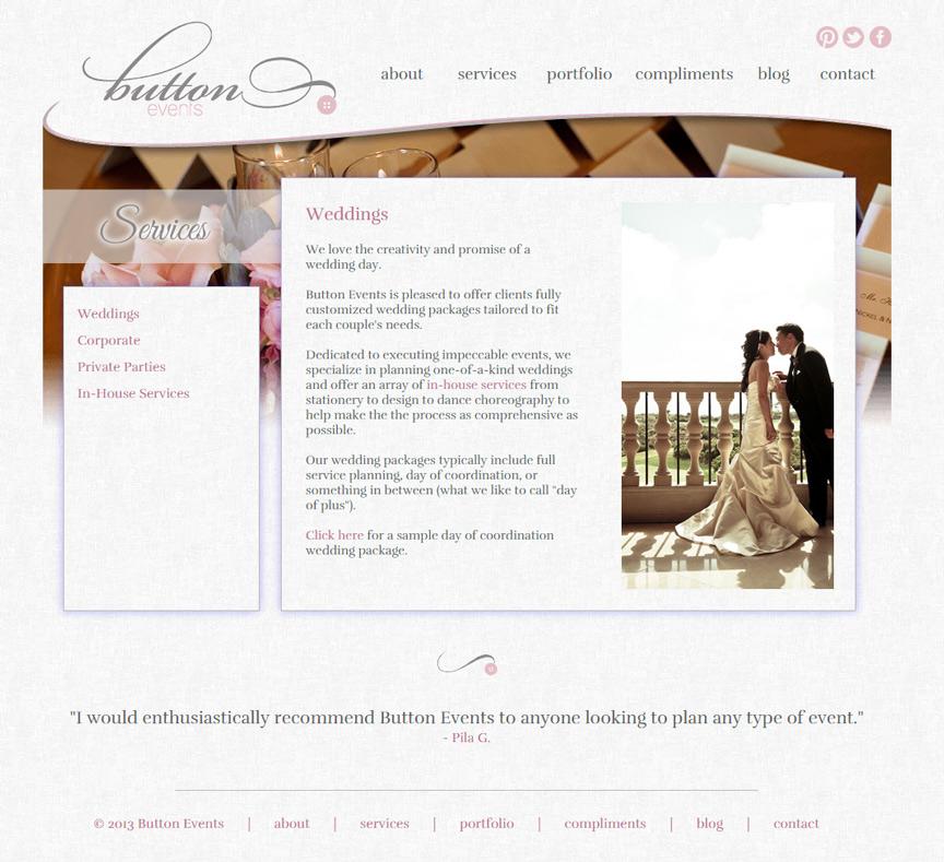 Button Events Services Page - Firestride Media Web Design