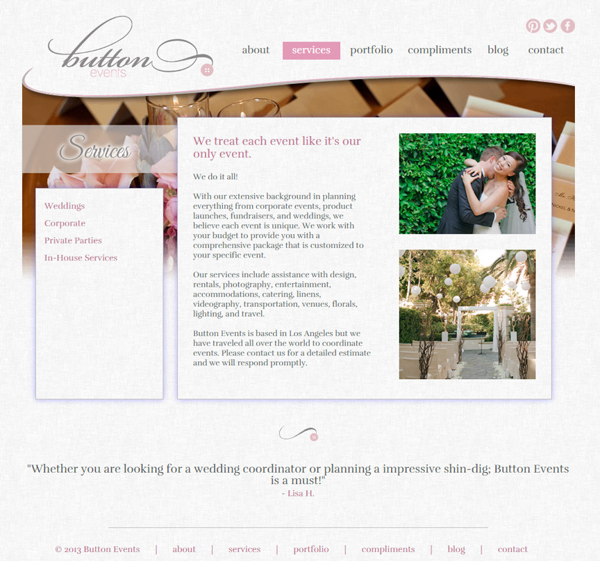Button Events Wedding Page - Firestride Media Web Design