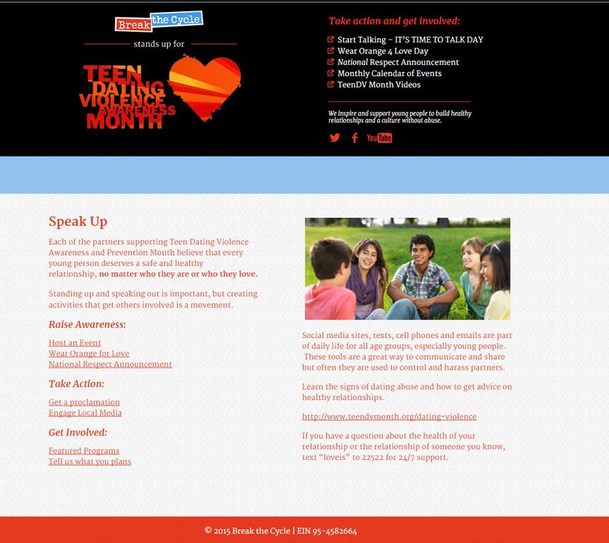 Teen DV Month Website - Firestride Media