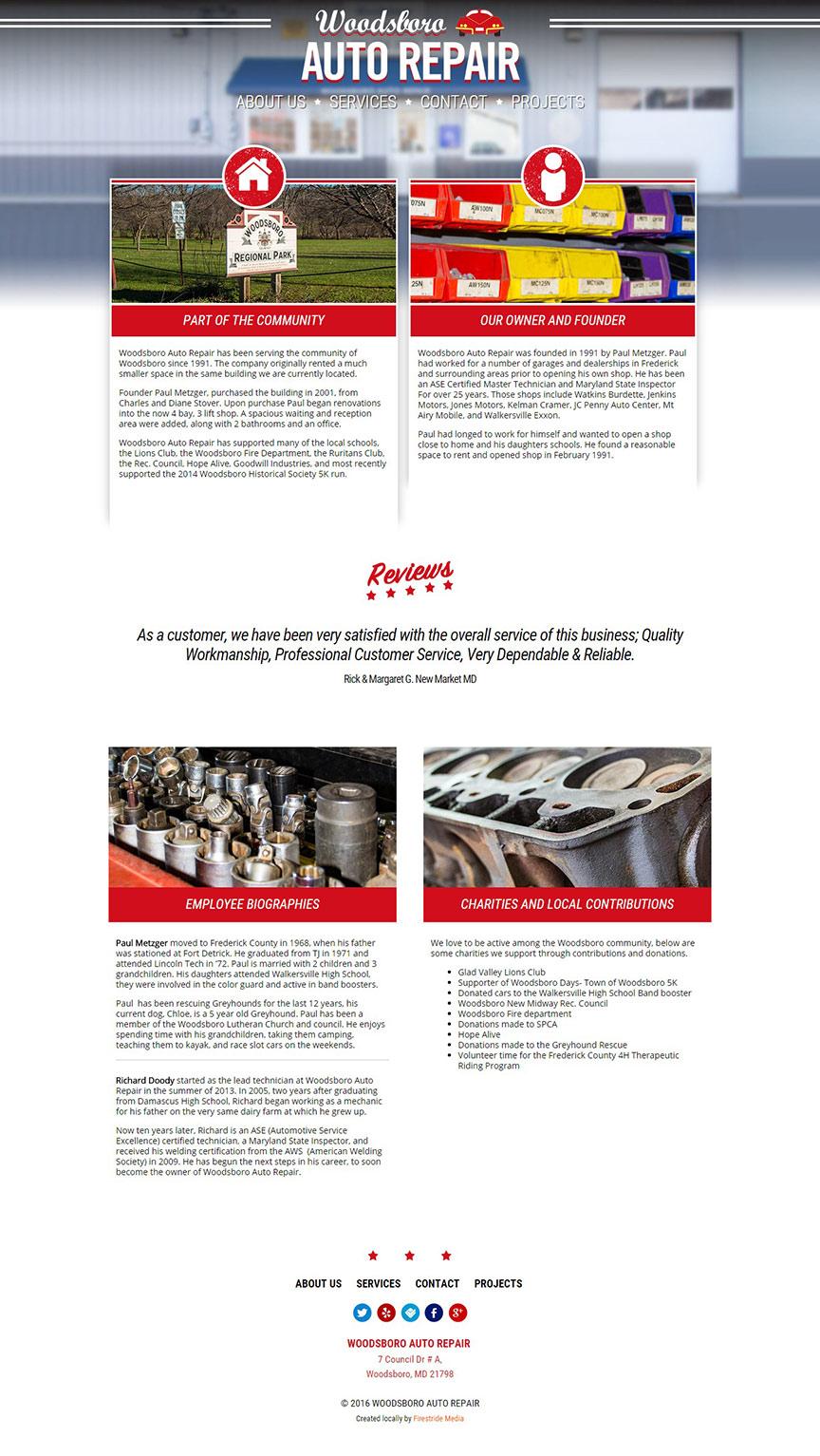 Woodsboro Auto Repair Website - Firestride Media