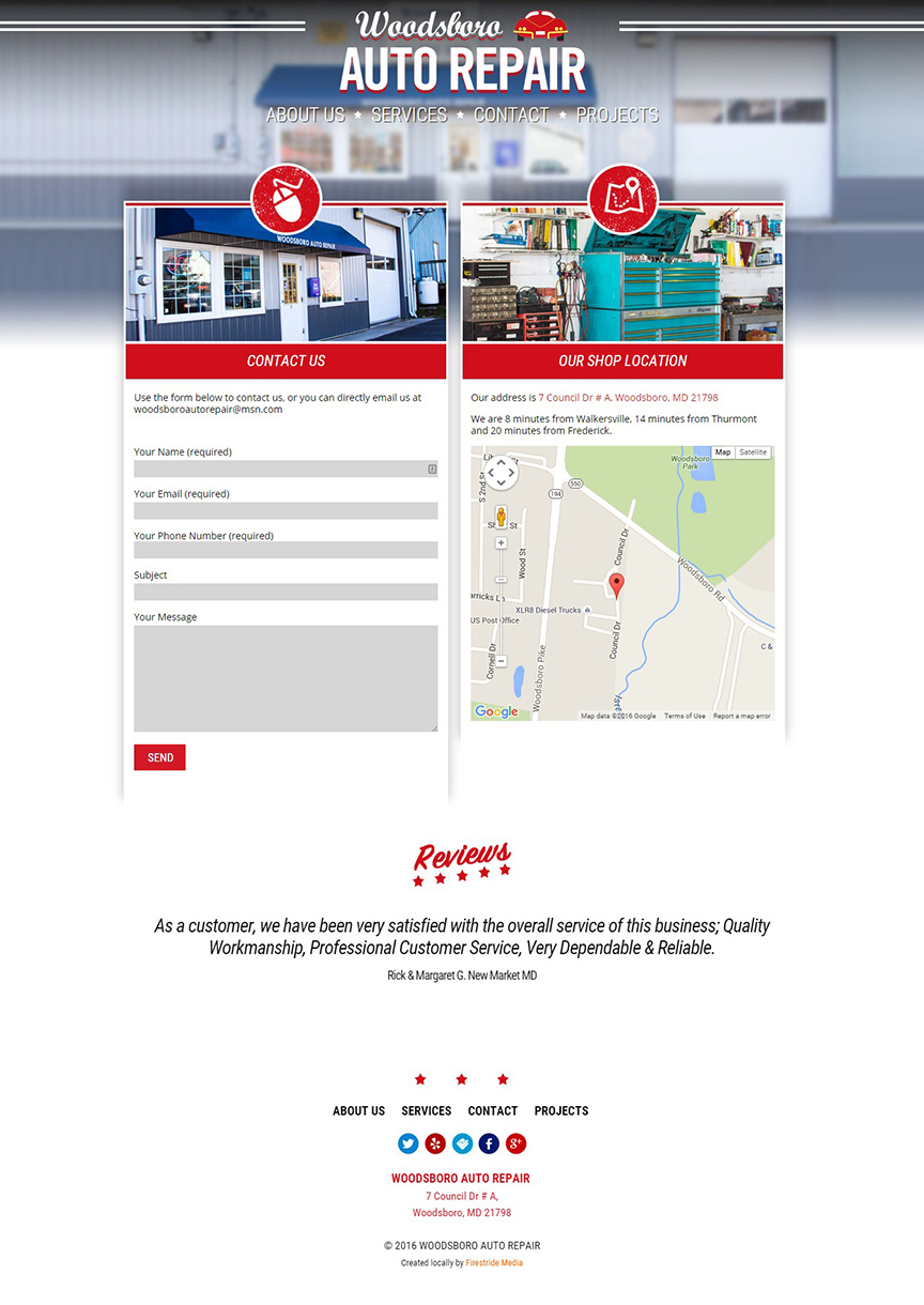 Woodsboro Auto Repair Website - Firestride Media